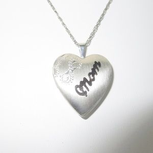 Jewelry - Sterling Mom Heart Locket Pendant w/Rope Necklace.